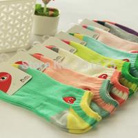 6 socks play socks sock slippers sock 100% women's summer casual cotton socks thin 100% cotton sweat absorbing