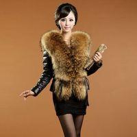 2014 Women Winter Leather Raccoon Fur Collar Coat Warm Fur Leather Jacket Fur Coat Winter Coat Parka