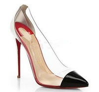 2014 New pointed-end women's sandals/pumps PVC lucency Red bottom shoes dress high-heeled shoes