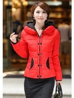 2014 Autumn-Winter Women's Slim Hooded Down Jacket Warm Cotton Padded Down Coat Short Korean Style Parka Winter Coat Outerwear