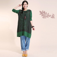[ LYNETTE'S CHINOISERIE - Sang ] National trend women's fluid knitted patchwork embroidered medium-long long-sleeve t-shirt