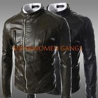Free shipping hot new 2014 leather jacket oblique zipper design Hot Mens fashion leather jacket