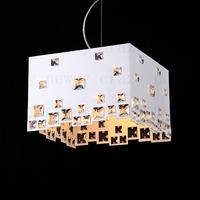 free shipping E14 32*32*22 cm e14 led K9 Square Crystal  Square baking  minimalist fashion  luxury modern white  pendant light