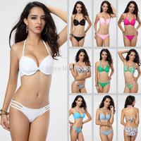 Sexy Womens Push Up Bikini Set Padded Tops Halterneck Swimsuit Swimwear Lady Underwire Bathingsuit Beachwear SML T108 Colorful