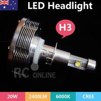 New H3 Car Truck LED Headlight Lamp 2400LM 20W CREE Conversion Kit Bulb H3 6000K as daylight