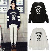 2014 letter digital print long sleeve patchwork loose casual sweatshirt pullover hoody hoodies vintage harajuku women tops shirt