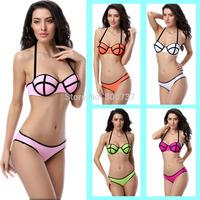 Sexy Women Halterneck Push Up Bikini Set Football Stripe Swimsuit Swimwear Underwire Bathingsuit Orange Green White Rose T156