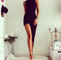 Free Shipping Women Dress 2014 Hot Sale Sleeveless Black Summer Casual Sexy Long NightClub Top Sale Lady Dress