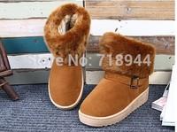 2014 New Arrive 4 Colors Big Size 34-40 Fashion Warm Women Flats Snow Ankle Boots Women Shoes
