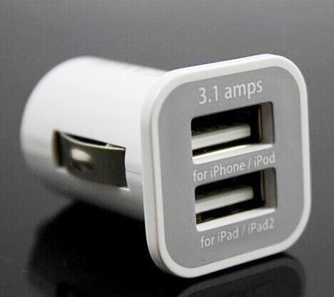 5V 3.1A USAMS dual port USB car charger 5V 3100mah for iphone 4 4g 4s ipad 1 2 3 ipod(China (Mainland))