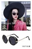 2014 French Fashion Week Steampunk Women Sunglasses  Men  Glasses Vintage Round Sunglass Brand Designer Gafas OCULOS De Sol 3317