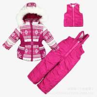 Free shipping 2014 New Children's Winter Clothing Set baby girl Windproof Down Coat Flower Warm Coats Fur Jackets+Bib Pants
