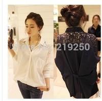2014 New Autumn loose large size women lace stitching shirts