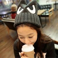 Korea Institute of wind Harajuku cute ears eyes embroidery devil horns influx of women knitted wool hat winter cap hedging