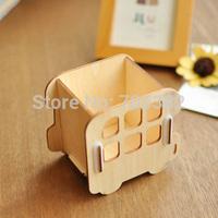 Free shipping ! Kawaii cartoon car shape wooden pencil holder,decoration supplies,storage box(tt-605)
