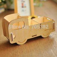 Free shipping ! Cute cartoon car shape wooden pencil holder,decoration supplies,storage box(tt-707)