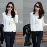 2014 Hitz women's fashion Long Sleeve T-shirt Slim Korean lace shirt big yards loose chiffon shirt Free shipping