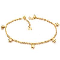 Fashion 18k Gold Plated Anklet Barefoot Sandals Ankle Bracelet Loving Heart Pendant Ankle Jewelry Free Shipping