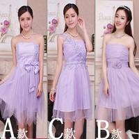 Bridesmaid clothes short design sisters dress skirt tube top bridesmaid dress Evening Dresses