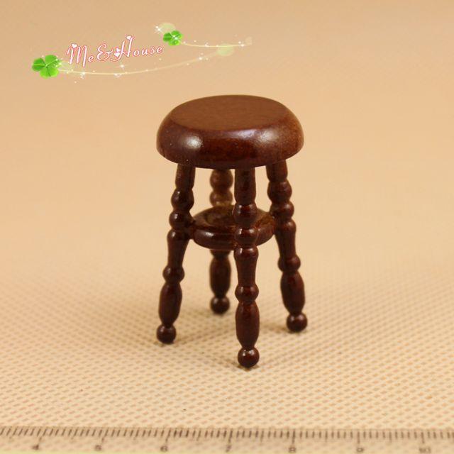 frete grátis venda quente 2014 escala 1:12 mini casa de bonecas brinquedos móveis de madeira cor de café tamborete de barra(China (Mainland))