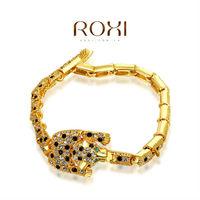 ROXI 18k yellow gold plat leopard bracelets,Top High quality Full austrian crystal 20602041190 AN