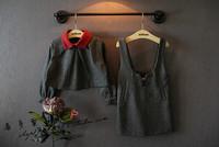 Top On Top wholesale Woolen vest dress + short paragraph blouse two piece girls suits free shipping