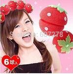 A25Hot Sell 250 set (1500pcs)Strawberry Soft Sponge Hair Curler Roller Balls Free Shipping