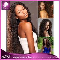 100% unprocessed brazilian virgin human hair deep curly full lace wig glueless for black women in stock