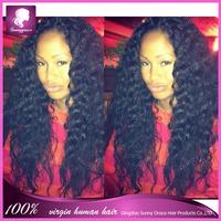 Hot Sale!!! Bleach Knots Virgin Brazilian Unprocessed Human Hair Deep Curl Glueless Full Lace Wig All Length