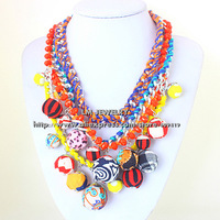 bijouterie fashion jewelry for women 2014 choker  chunky rope knit colorful bubbles statement Necklaces & pendants LM-SC891