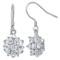 Sliver 925 Flower Long Wedding Cubic Zirconia Earrings Birthday Gift for Women Brand Fashion Korean Earring Wholesale Ulove R356