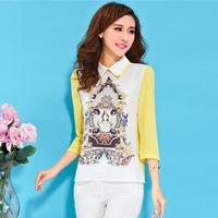 2014 spring and autumn new hot  ladies three quarter slim blouses chiffon shirts women's shirt bottoming shirt