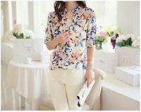 Retail~~2014 New Summer Women long-sleeve bird Print Chiffon Shirts Fashion Slim Blouses Shirts for Women