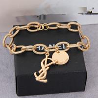 Wholesale golden Fashion . y . rhinestone letter .gold plated fashion female . chain charm bracelet
