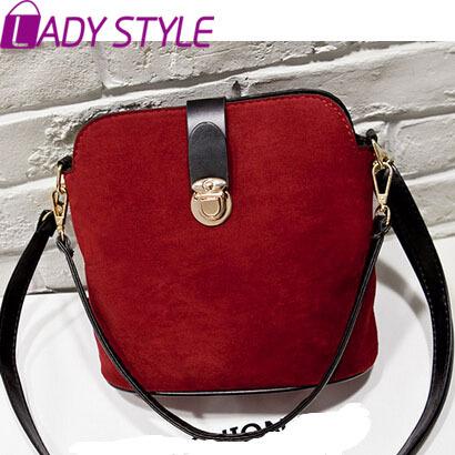 LADY STYLE Hot fashion casual nubuck leather shoulder bag bucket women handbag vintage messenger bags day clutch new 2015 HL2563(China (Mainland))