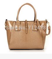 2014 crocodile women handbag japanned leather shoulder bag vintage messenger bags big totes  free shipping  s4820