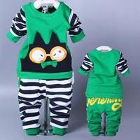 Retail 2014 New Autumn Children's Clothing For Baby Boy Long-sleeve Lovely Funny Elastic Set T-shirt+ pant Kids Girl Set AB324