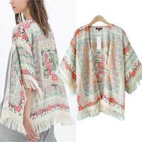 New 2014 Autumn European Fringe Retro Kimono Cardigan Floral Print Women Shawl Chiffon Batwing Sleeve Flower Ladies Jacket Tops