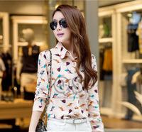 new 2014 autumn bird print blouse & shirts chiffon long-sleeve plus size women clothing tops Q093