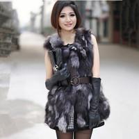 Real luxury new fashion TOPS coat 2014 new women's silver fox fur vest medium-long  waistcoat  outwear 4XL 5XL large size