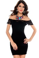 Megan off The Shoulder Lace Trim Bodycon Dress 2014 New LC2716