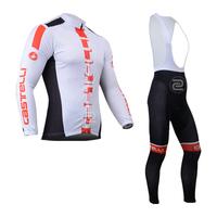 2014 Castelli Cycling Jersey Long Sleeve men bike jersey Cycling Clothing bib pants S-4XL