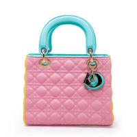 Hot sale Fashion women bag 2014 New style PU leather handbags multicolor Diamond lattice Woman bag Ms Messenger Bag Shoulder Bag