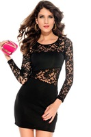 Hot Insert Dress Black Red Purple LC2738 Long for Women Ladies Winter Spring Wear