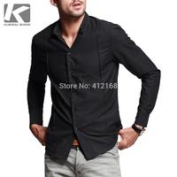 yc-5242# Brand KUEGOU 100% Cotton Comfortable breathable 2014 New Men's Fashion Casual Long Sleeve Shirts