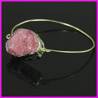Wholesale 5PCS Crystal Red Druzy Gem Stone Bangle,Freeform Quartz Cuff Bangle,Delicate Modern Jewelry Bracelet
