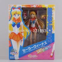"Free Shipping Anime Sailor Moon 6"" 14CM Sailor Venus Minako Aino PVC Action Sexy Figures Models Collectible Toys"