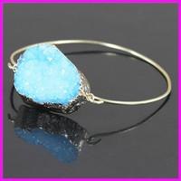 Wholesale 5PCS Crystal Blue Druzy Gem Stone Bangle,Quartz Cuff Bangle,Delicate Modern Jewelry Bracelet