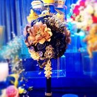 2014 New Wedding Accessories,Artifical Pearl Beaded Brooch Silk Rose Bridal Bouquet,  Mediterranean Theme Wedding