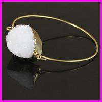 Wholesale 5PCS Crystal White Druzy Gem Stone Bangle,Quartz Cuff Bangle,Delicate Modern Jewelry Bracelet